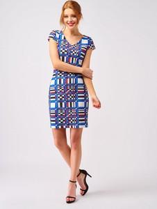 Niebieska sukienka Smashed Lemon mini z tkaniny z krótkim rękawem