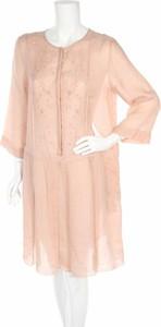 Różowa sukienka MaxMara z okrągłym dekoltem z długim rękawem w stylu casual