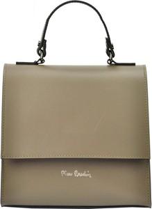 Brązowa torebka Pierre Cardin średnia do ręki matowa