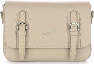 Eleganckie torebki skórzane listonoszki vittoria gotti beżowe