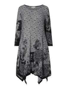 Sukienka Apricot + mini z okrągłym dekoltem z długim rękawem
