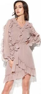 Różowa sukienka Lemoniade z długim rękawem z dekoltem w kształcie litery v w stylu casual