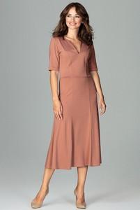 Pomarańczowa sukienka Fokus dopasowana z krótkim rękawem