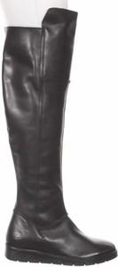 Czarne kozaki Bullboxer ze skóry w stylu casual z płaską podeszwą