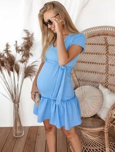 Niebieska sukienka SELFIEROOM z bawełny w stylu casual z dekoltem w kształcie litery v