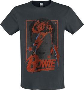 Granatowy t-shirt David Bowie z nadrukiem z bawełny
