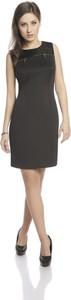 Czarna sukienka Fokus midi z okrągłym dekoltem bez rękawów