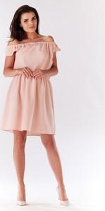 Różowa sukienka Infinite You mini z krótkim rękawem
