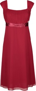 Czerwona sukienka Fokus z szyfonu z krótkim rękawem z okrągłym dekoltem