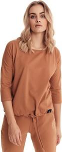 Brązowa bluzka Badura w stylu casual z długim rękawem