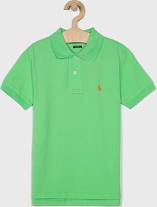 Zielona koszulka dziecięca POLO RALPH LAUREN z bawełny z krótkim rękawem