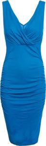 Niebieska sukienka bonprix BODYFLIRT boutique z dekoltem w kształcie litery v bez rękawów midi