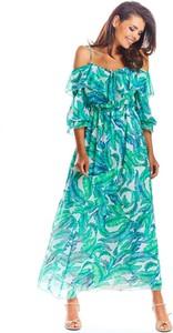 Zielona sukienka Awama maxi z długim rękawem