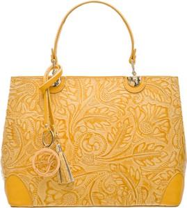 Żółta torebka Glamorous by Glam ze skóry