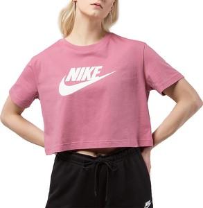 Różowy t-shirt Nike w sportowym stylu z krótkim rękawem z bawełny