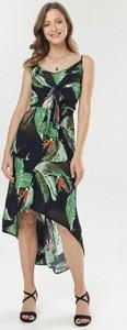 Granatowa sukienka born2be na ramiączkach z okrągłym dekoltem midi