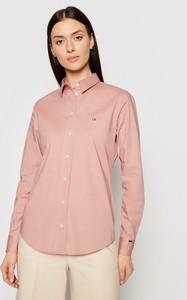 Różowa koszula Calvin Klein z kołnierzykiem z długim rękawem w stylu casual