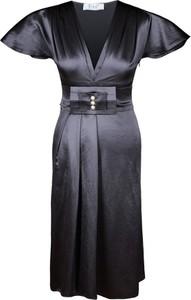 Granatowa sukienka Fokus z krótkim rękawem z dekoltem w kształcie litery v