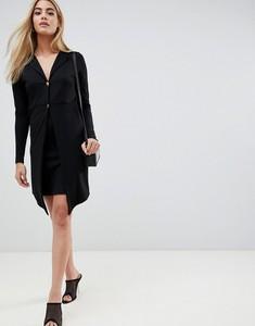 Czarna sukienka Asos Design z dekoltem w kształcie litery v z długim rękawem mini