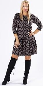 Sukienka Ptakmoda.com mini trapezowa z długim rękawem