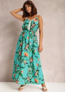 Turkusowa sukienka Renee z dekoltem w kształcie litery v maxi na ramiączkach