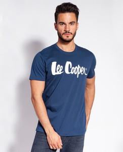 Niebieski t-shirt Lee Cooper z krótkim rękawem z nadrukiem z bawełny