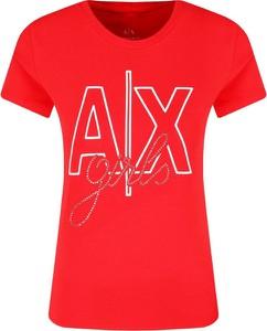 Czerwony t-shirt Armani Jeans w młodzieżowym stylu