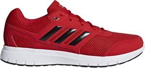 Czerwone buty sportowe Adidas duramo ze skóry ekologicznej sznurowane