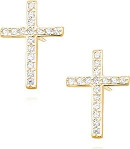 Valerio Delikatne pozłacane srebrne kolczyki celebrytka krzyżyk krzyż cyrkonie srebro 925 Z1336E_G
