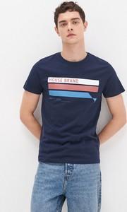 Granatowy t-shirt House z nadrukiem