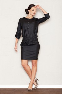 Czarna sukienka Figl z okrągłym dekoltem mini prosta