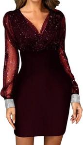Czerwona sukienka Sandbella z długim rękawem z dekoltem w kształcie litery v