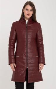 Czerwony płaszcz Giorgio Di Mare ze skóry