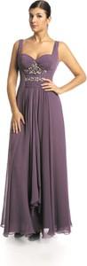 Fioletowa sukienka Fokus z dekoltem w kształcie litery v z szyfonu maxi