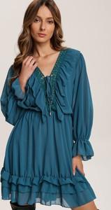 Niebieska sukienka Renee z długim rękawem