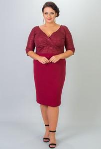 Czerwona sukienka KARKO ołówkowa z dzianiny z długim rękawem