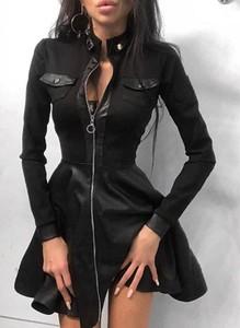 Czarna sukienka Sandbella z długim rękawem mini