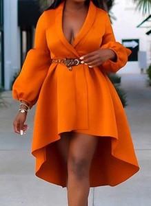 Pomarańczowa sukienka Cikelly mini z długim rękawem z dekoltem w kształcie litery v