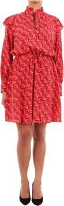 Czerwona sukienka Barba z długim rękawem mini