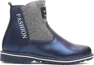 Niebieskie buty zimowe born2be ze skóry ekologicznej