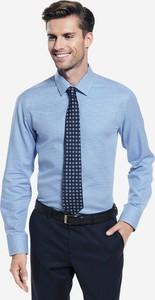 Niebieska koszula Lambert z bawełny z długim rękawem