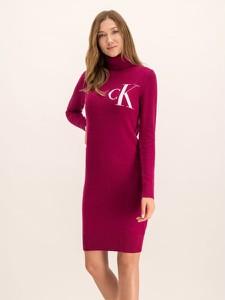 Czerwona sukienka Calvin Klein z golfem z nadrukiem mini