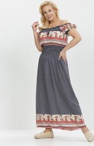 Granatowa sukienka born2be trapezowa z krótkim rękawem maxi