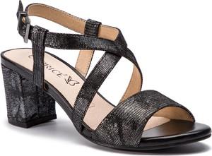 Czarne sandały Caprice ze skóry na średnim obcasie na słupku
