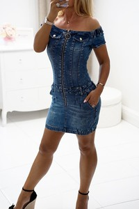 Sukienka Obsessionforyou mini z krótkim rękawem z jeansu