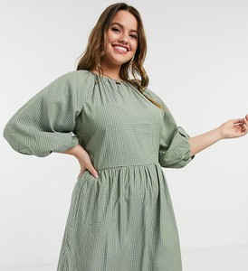 Zielona sukienka Missguided Plus z długim rękawem
