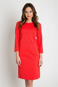 Czerwona sukienka Bialcon z okrągłym dekoltem z długim rękawem