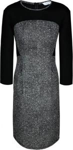 Sukienka Fokus z długim rękawem ołówkowa z okrągłym dekoltem