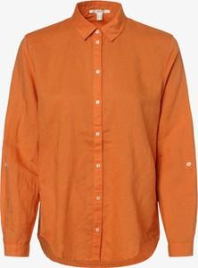 Pomarańczowa bluzka Esprit z bawełny z długim rękawem