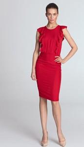 Czerwona sukienka Nife z okrągłym dekoltem midi
